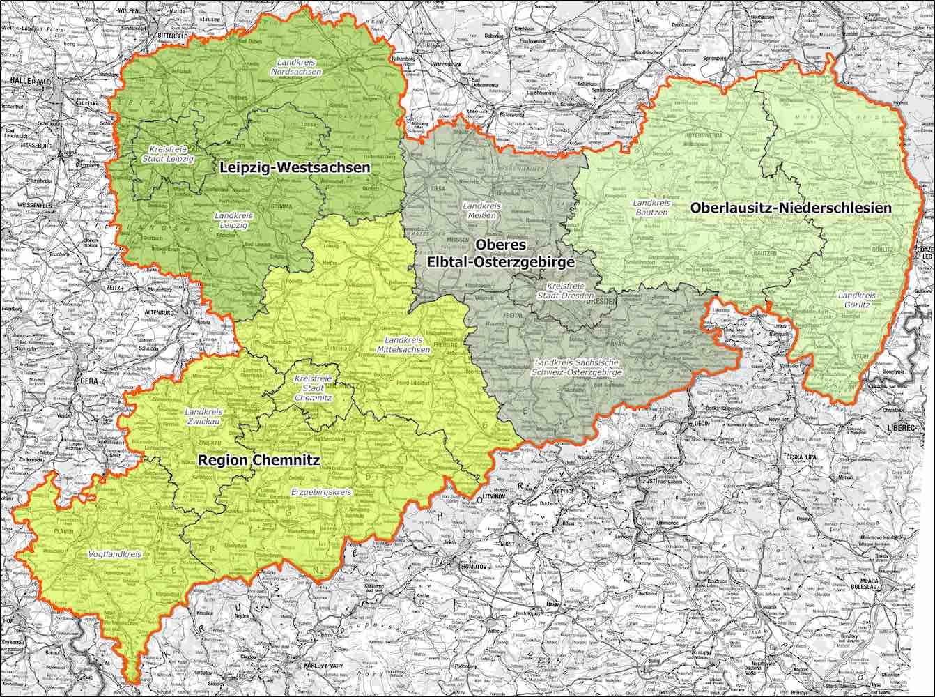 Karte der Planungsregion Sachsen mit den farbig markierten Regionen der vier Planungslverbände
