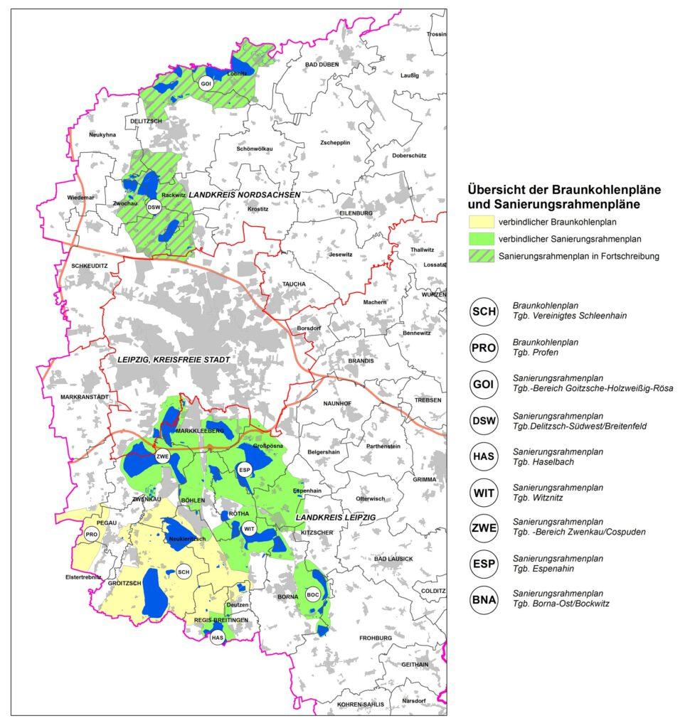 Übersicht der Braunkohlenpläne und Sanierungsrahmenpläne in der Planungsregion Leipzig-Westsachsen