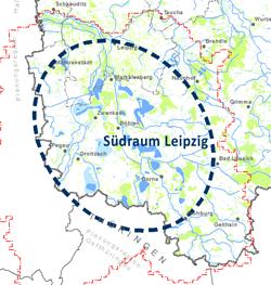 Ausschnitt aus Karte mit eingerahmten Südraum Leipzig