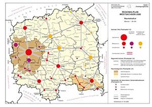 Raumstrukturkarte des Regionalplans 2008